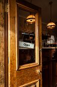 Funky Wood Cafe Door Open with Open Sign