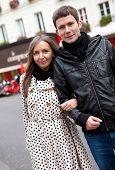 Romantic Couple On A Parisian Street