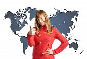 Young Woman Making Ok Sign Over Map World Background