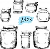 stock photo of mason  - Jars with labels - JPG