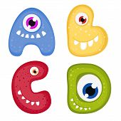 stock photo of letter d  - Funny Toothy Monster Alphabet from A to D - JPG