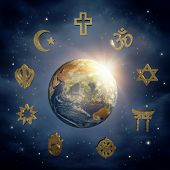 Planet Earth and religious symbols (Elements of this image furnished by NASA))