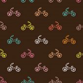 Seamless quirky hand drawn colorful bike hipster illustration background pattern in vector