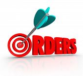 Orders Word 3D Letters Arrow Bulls Eye Increase Sales