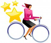business woman ride bicycle
