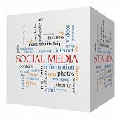 Social Media 3D Cube Word Cloud Concept