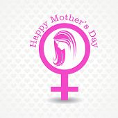 Silhouette of a mothers day card with face , symbol with text