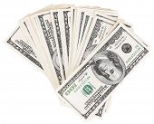 Lot of one hundred dollar bills isolated on white