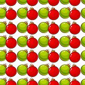 Pattern With Christmas Balls. Vector Seamless Background.