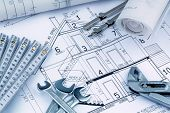 an architect's blueprint for the construction of a new residential house. symbol photo for financing and planning of a new home.