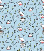 Birds and Cup of Tea Romantic Background