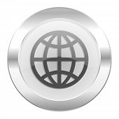 earth chrome web icon isolated