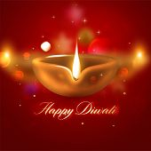 Burning Diya. Diwali Holiday Background Design.