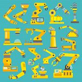 image of decorative  - Robotic arm manufacture technology industry assembly mechanic flat decorative icons set isolated vector illustration - JPG
