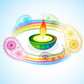 vector beautiful diwali diya backgroound