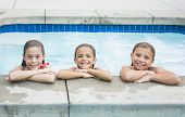 Cute little girls playing in the swimming pool