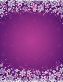Violet Background With  Frame Of Snowflakes,  Vector