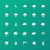 Weather icons on green background.