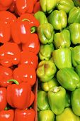 fresh raw lot of red and green of bell pepper on counter