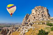 Hot air balloon over Cappadocia - Turkey travel background