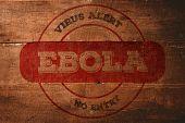 Ebola virus alert stamp against overhead of wooden planks