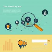 Set of flat design concepts for web and printing