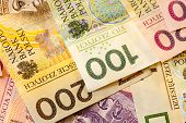 Polish Zloty Banknotes  As Background