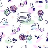 Hand drawn cosmetics, seamless pattern