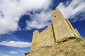 Castle in Sadaba with beauty sky in Saragossa, Aragon, Spain