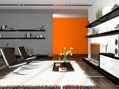 Interior of modern apartment 3D rendering
