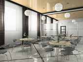 Interior of modern bistro (cafe) 3D rendering