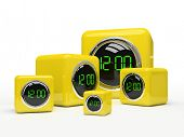 Five yellow clocks isolated on white background 3D