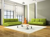 Modern interior with green sofas and white carpet