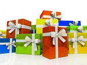 Colour gift boxes isolated on white background 3D