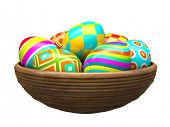 Colorful painted easter eggs in wood plate 3D