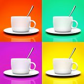 Four cups isolated on different backgrounds 3D