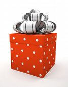 Red gift box with bow isolated on white backgroung illustration