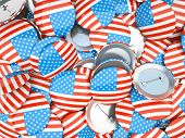 Buttons with American flag illustration