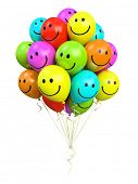 bunch of colorful balloons smiling