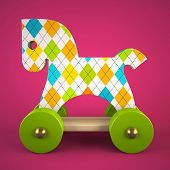 wood toy horse on purple background 3D