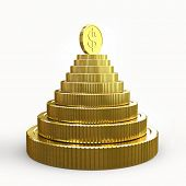 Pyramid of golden coins isolated on a white background 3D