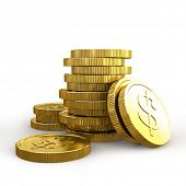 Stacks of golden coins isolated on a white background 3D