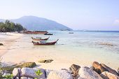 LIPE ISLAND, SATUN, THAILAND - SEP29, 2014: Longtail Boat For Visit Beautiful Beach