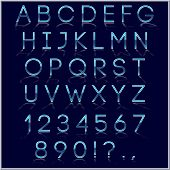 Vector blue alphabet letter, digits and punctuation signs with reflection on dark background