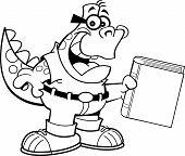Cartoon Dinosaur Holding a Book