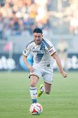 CARSON, CA - OCT 19: Robbie Keane runs the ball down during the Los Angeles Galaxy MLS game against the Seattle Sounders on October 19th 2014 at the StubHub Center.