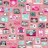 Seamless colorful vintage style hipster toy camera illustration background pattern in vector