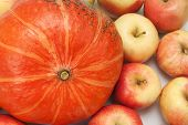 orange pumpkin with apples, background