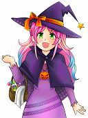 Pretty Witch Of Halloween In Japanese Manga Style, Create By Vector