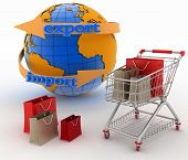 Shopping cart with a globe. Direction concept. 3d illustration on white background